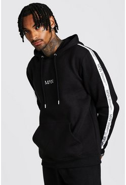 Mens Black MAN Dash Taped Hoodie