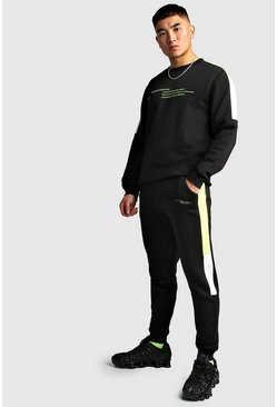 Mens Black MAN Official Colour Block Sweater Tracksuit