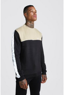 Black MAN Sweater With Panelling