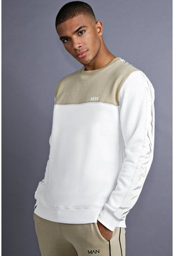 Mens White MAN Sweater With Panelling