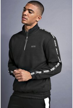 Herr Black MAN Funnel Neck Sweater With Tape Detail