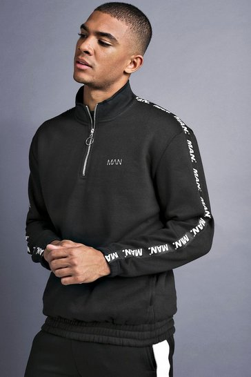 Black MAN Funnel Neck Sweater With Tape Detail