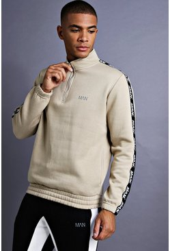 Mens Taupe MAN Funnel Neck Sweater With Tape Detail