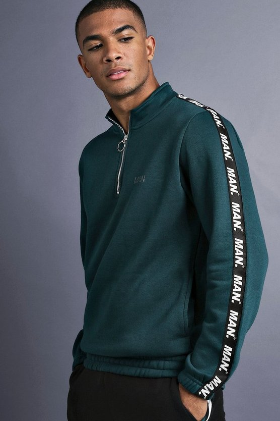Teal MAN Funnel Neck Sweater With Tape Detail