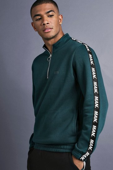 Mens Teal MAN Funnel Neck Sweater With Tape Detail