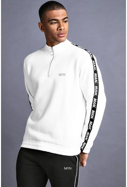 Herr White MAN Funnel Neck Sweater With Tape Detail
