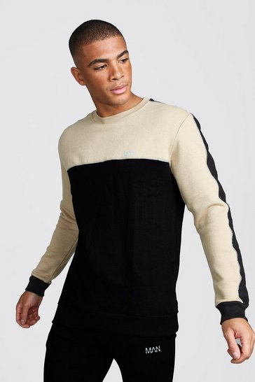 Mens Black MAN Sweater With Panel And Piping Detail