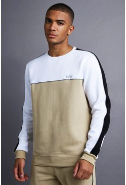 Herr Taupe MAN Sweater With Panel And Piping