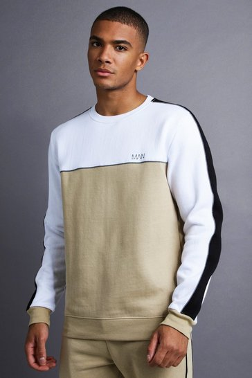 Mens Taupe MAN Sweater With Panel And Piping