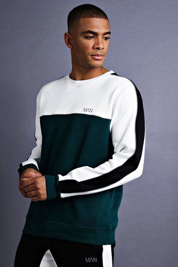 Mens Teal MAN Sweater With Panel And Piping Detail