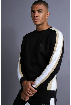Mens Black MAN Raglan Sweater With Panelling