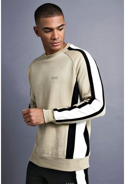 Mens Taupe MAN Raglan Sweater With Panelling