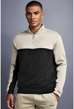 Mens Black MAN 1/4 Zip Funnel Neck With Piping