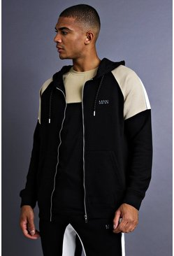 Mens Black MAN Raglan Hoodie With Panel Detail