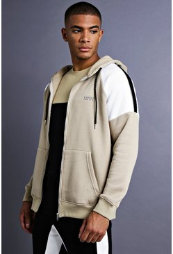 Mens Taupe MAN Raglan Hoodie With Panel Detail