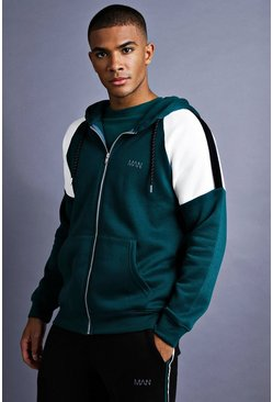 Mens Teal MAN Raglan Hoodie With Panel Detail