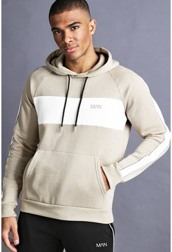 Sweat à capuche raglan à empiècement MAN, Taupe, Homme
