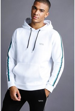 Mens White MAN Raglan Hoodie With Tape Detail