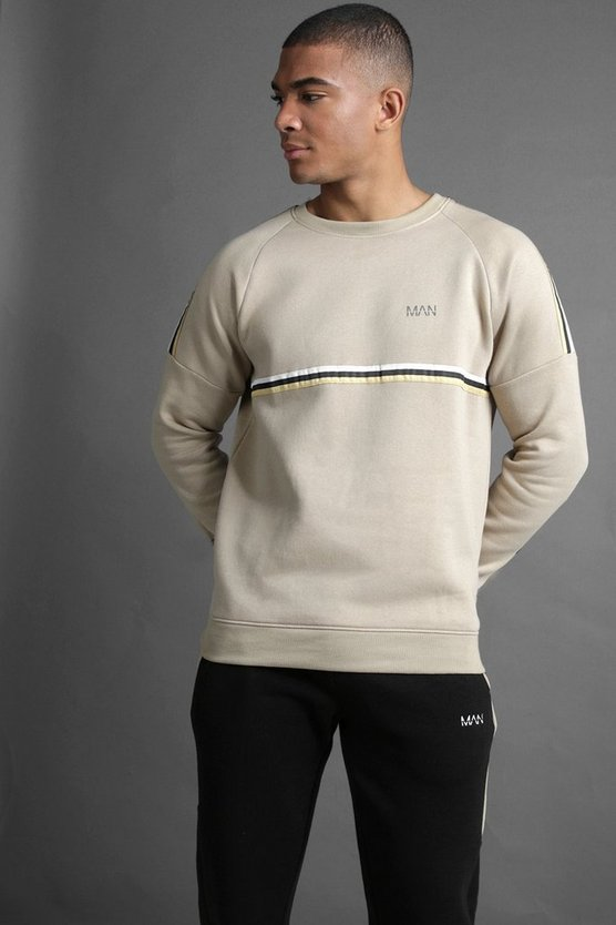 Taupe MAN Raglan Sweater With Tape Detail