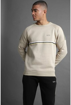 Mens Taupe MAN Raglan Sweater With Tape Detail