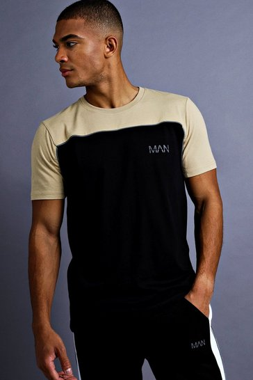 Mens Black Man Fit T-Shirt With Panelling