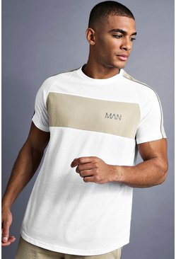 Mens White MAN Longline Curved Hem Fit T-Shirt With Panelling