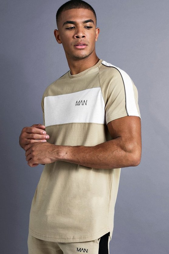 Taupe MAN Longline Curved Hem Fit T-Shirt With Panelling