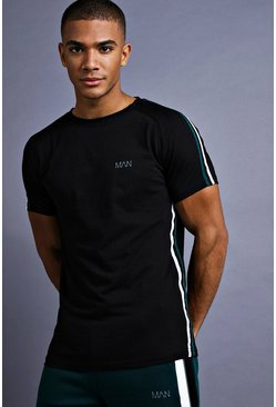 Mens Black MAN Muscle Fit Raglan T-Shirt With Tape