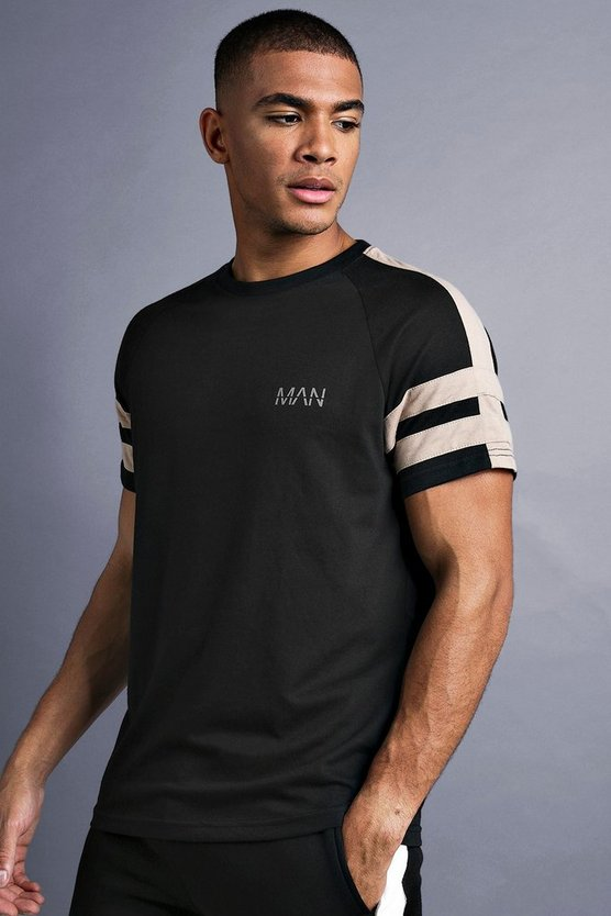 Black MAN Raglan T-Shirt With Tape Detail