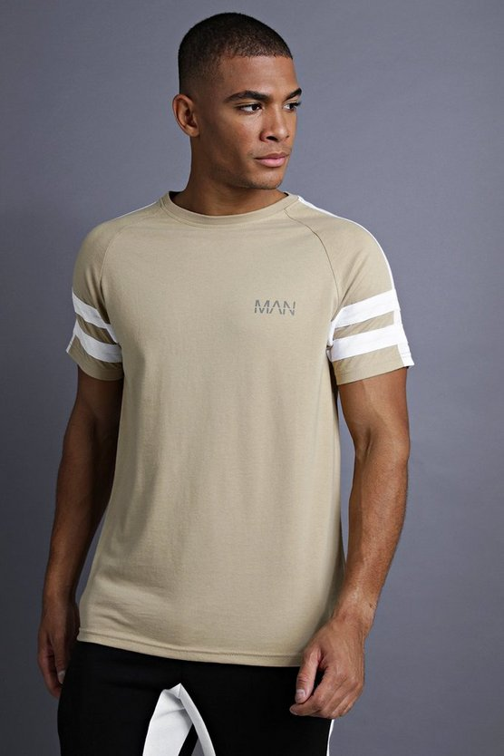Taupe MAN Raglan T-Shirt With Tape Detail