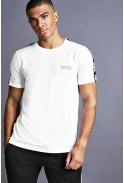 White MAN T-shirt med kantband