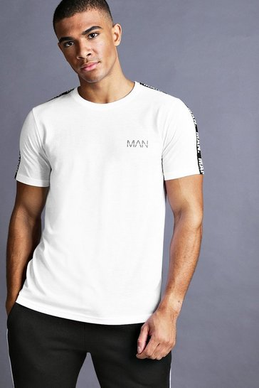 White MAN T-Shirt With Tape Detail