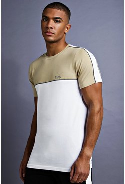 Mens White MAN Muscle Fit T-Shirt With Piping Detail