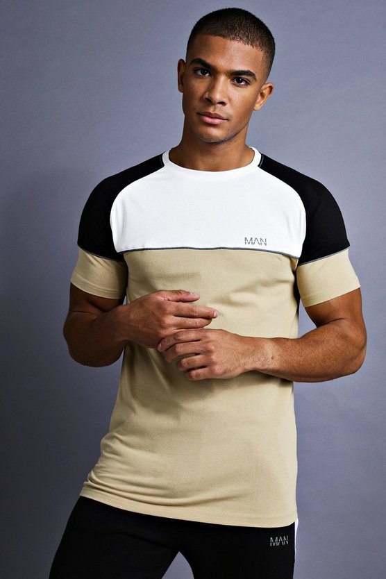 Taupe MAN Muscle Fit Raglan T-Shirt With Panelling
