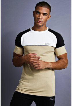 Mens Taupe MAN Muscle Fit Raglan T-Shirt With Panelling