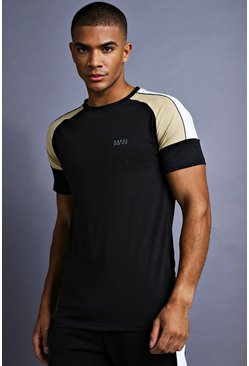 Mens Black MAN Muscle Fit Raglan Panelled T-Shirt