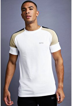 White MAN Muscle Fit Raglan Panelled T-Shirt