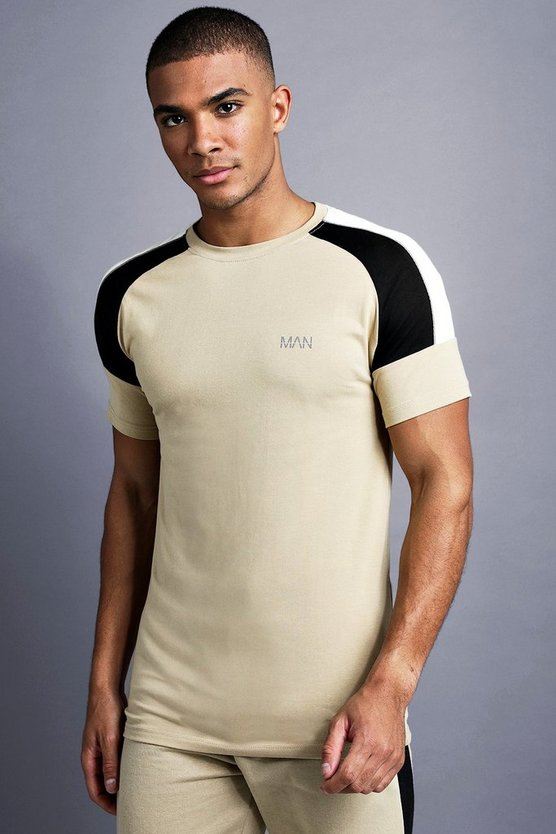 Taupe MAN Muscle Fit Raglan Panelled T-Shirt