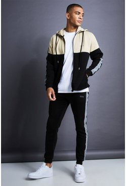 Mens Black MAN Skinny Fit Zip Reflective Detail Tracksuit