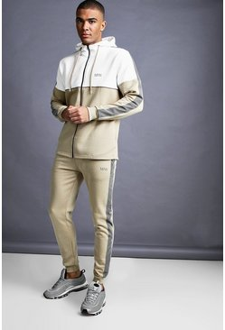 Mens Taupe MAN Skinny Fit Zip Reflective Detail Tracksuit
