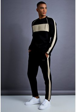 Herr Black MAN Skinny Fit Sweater Panelled Tracksuit