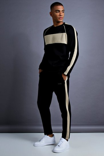 Mens Black MAN Skinny Fit Sweater Panelled Tracksuit