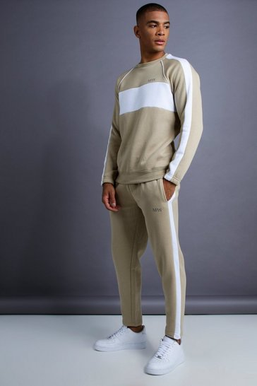 Mens Taupe MAN Skinny Fit Sweater Panelled Tracksuit