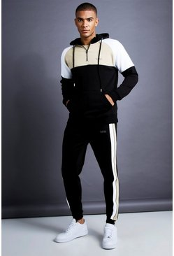 Black MAN Skinny Fit 1/4 Zip Panelled Tracksuit