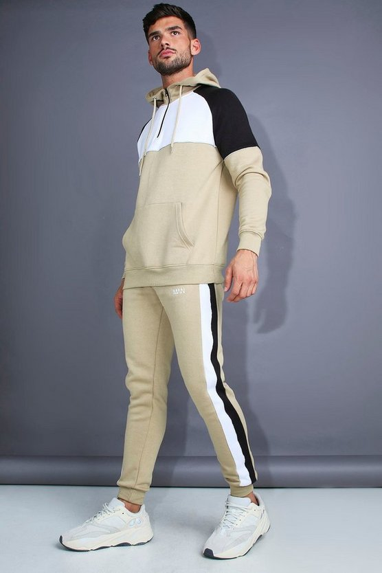 Taupe MAN Skinny Fit 1/4 Zip Panelled Tracksuit