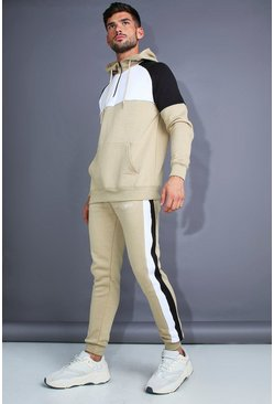 Mens Taupe MAN Skinny Fit 1/4 Zip Panelled Tracksuit