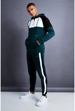 Herr Teal MAN Skinny Fit 1/4 Zip Panelled Tracksuit