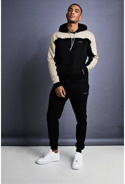 Black MAN Skinny Fit Panelled Tracksuit