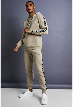 Herr Taupe MAN Skinny Fit Taped Tracksuit