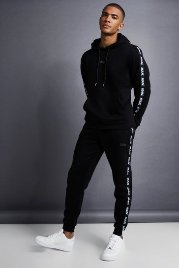 Black MAN Skinny Fit Taped Tracksuit